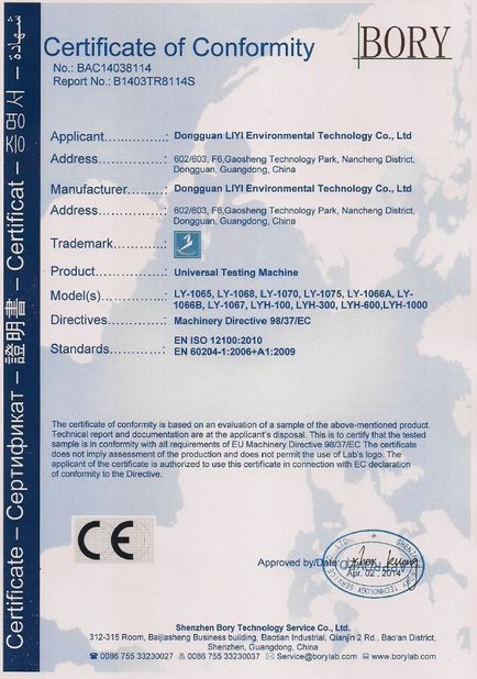 中国 Dongguan Liyi Environmental Technology Co., Ltd. 認証